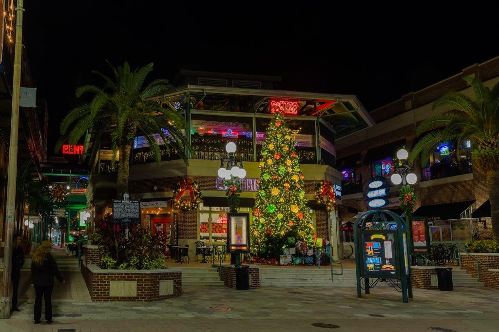 Centro Ybor Plaza with Christmas Tree, Ybor City, Florida