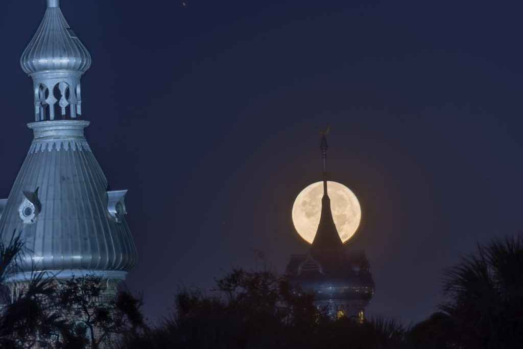 Supermoon over University of Tampa, Tampa, Florida
