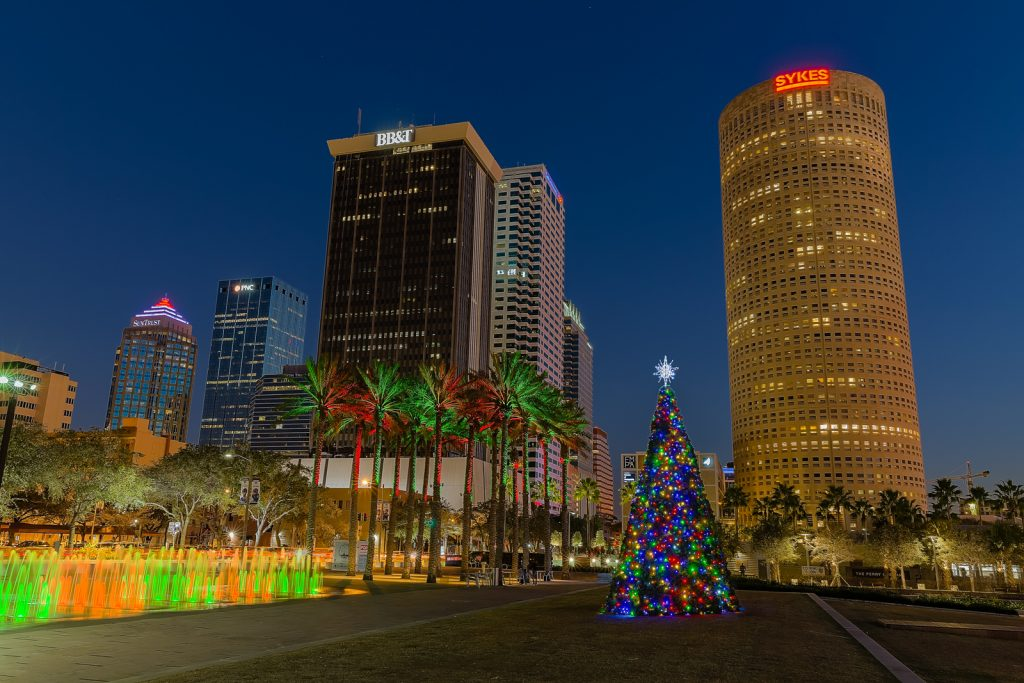 Tampa Christmas Tree Turned On, Tampa, Florida