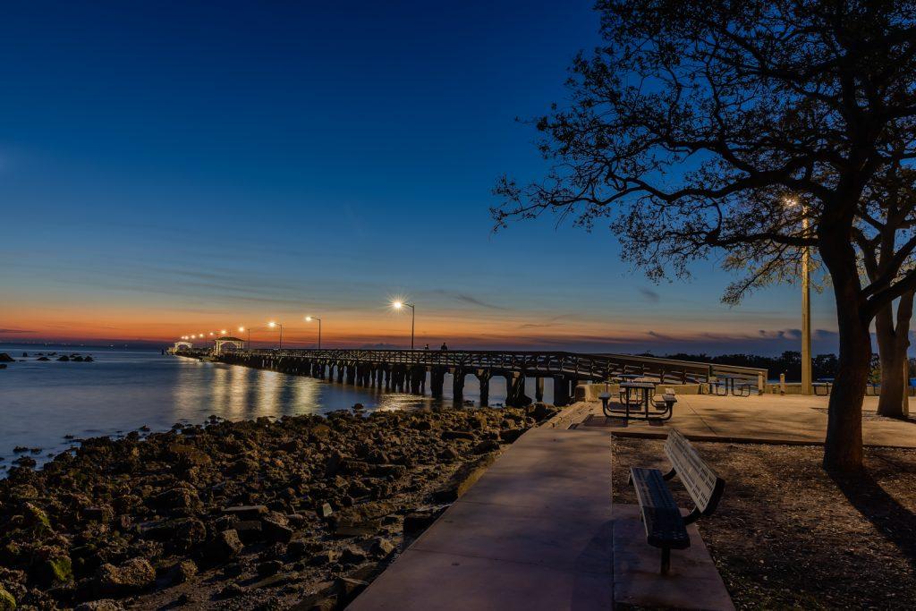 Ballast Point Fishing Pier Twilight, Tampa, Florida