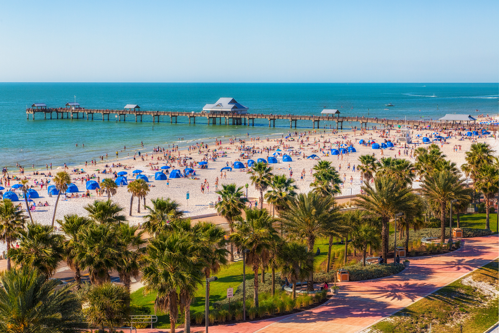 Clearwater Beach Spring Break from Above