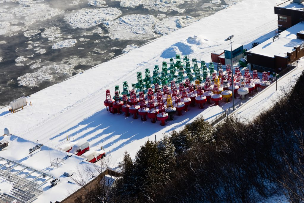 Colored Buoys along St Lawrence River